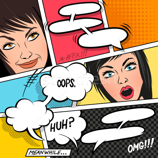 Cartoon Women and Speech Bubbles Stock photo © solarseven