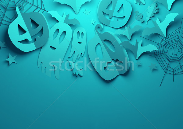 Papel arte assustador azul halloween dobrado Foto stock © solarseven