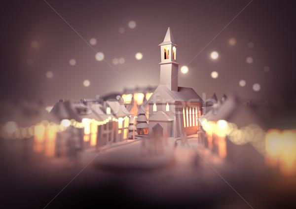 Natale città chiesa centro Foto d'archivio © solarseven