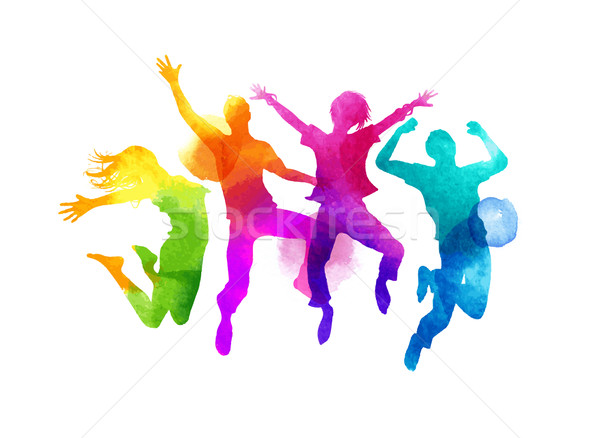 Acuarela saltar grupo amigos vector Foto stock © solarseven