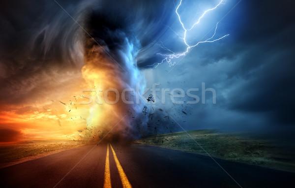 Dramático tempestade tornado pôr do sol poderoso Foto stock © solarseven