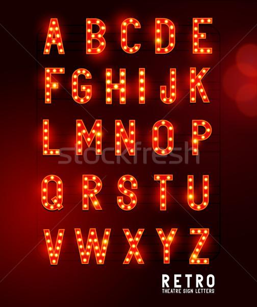 Rétro théâtre éclairage lettres ampoule Photo stock © solarseven