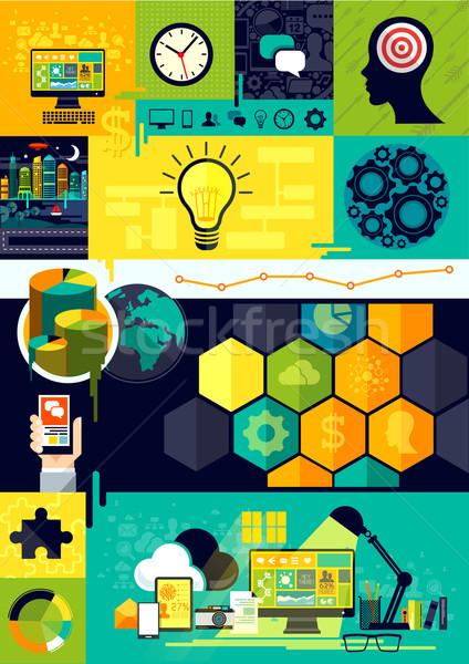 Flat Design Infographic Symbols Stock photo © solarseven