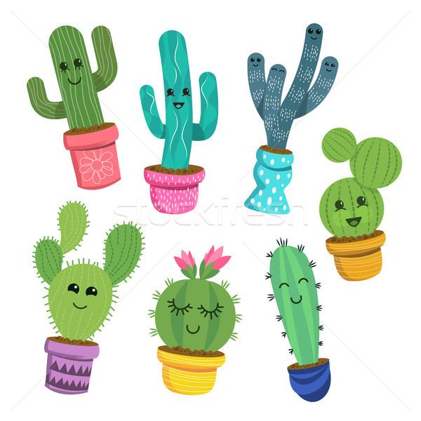Gelukkig cactus plant collectie cute Stockfoto © solarseven