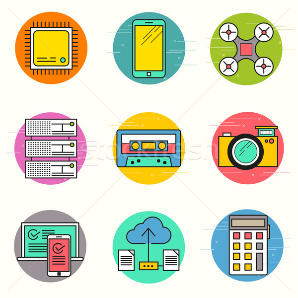 Technology Vector Icon Set Stock photo © solarseven