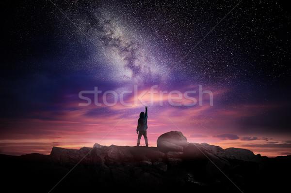 Noite paisagem leitoso maneira tempo longa exposição Foto stock © solarseven