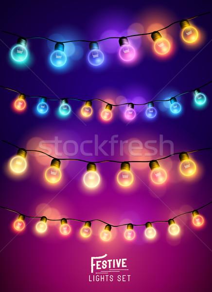 Navidad hadas luces establecer colección Foto stock © solarseven