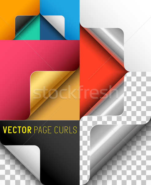 Vector Paper Page Curl Set Stock photo © solarseven