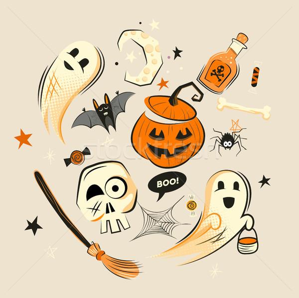 Halloween dizayn vektör süslemeleri parti Stok fotoğraf © solarseven