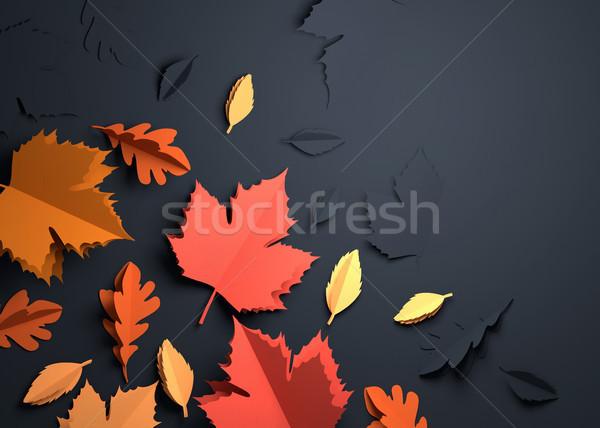 Paper Art - Autumn Fall Leaves Stock photo © solarseven