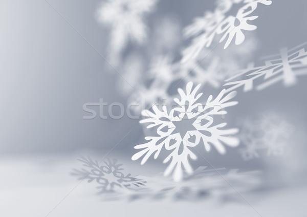 Foto d'archivio: Cadere · fiocchi · di · neve · carta · illustrazione · Natale