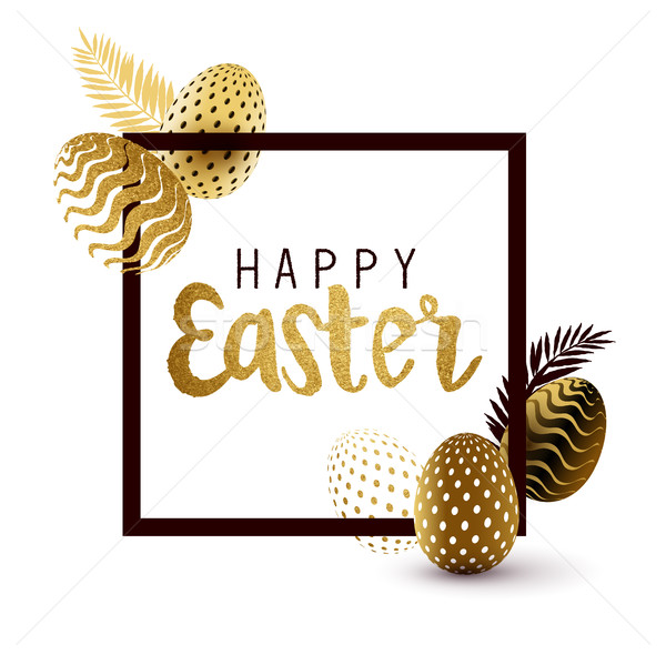 Happy Easter Black And Gold Design Stock photo © solarseven