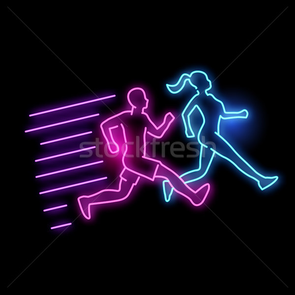 Glowing Neon Running Active People Sign Stock photo © solarseven