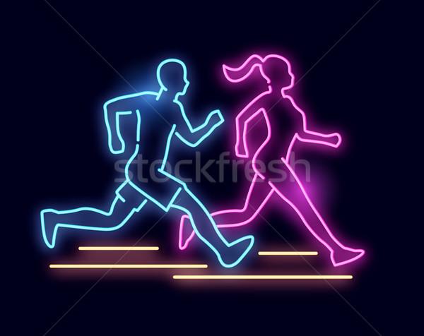 Neon fény fut emberek felirat férfi Stock fotó © solarseven