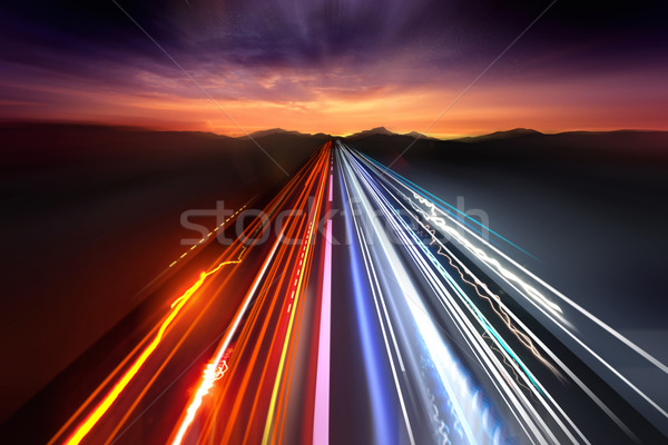 Fast Traffic Light Trails Stock photo © solarseven