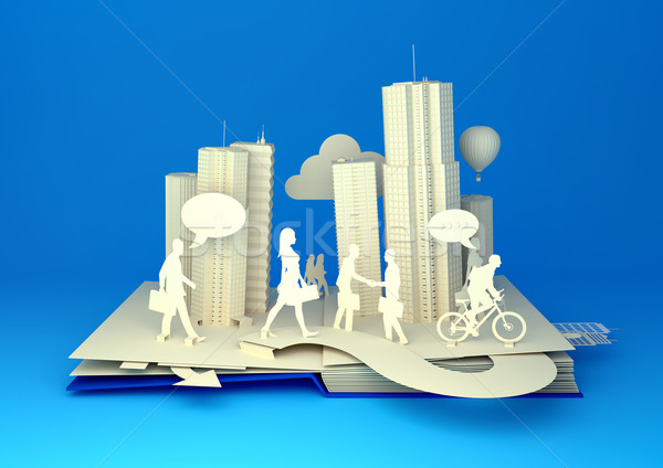 Pop-Up Book - Busy City Life Stock photo © solarseven