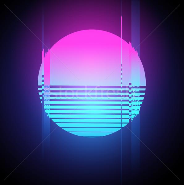 Neon zon effect retro 1980 Stockfoto © solarseven