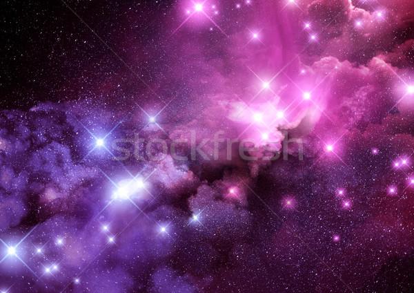 Galaxis csillagköd rózsaszín lila csillagok háttér Stock fotó © solarseven