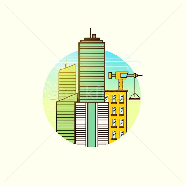Ontwikkelen stad vector bouw onroerend symbool Stockfoto © solarseven