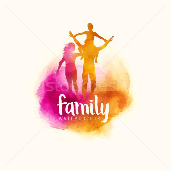 Akwarela stylu rodziny rodziców dziecko Zdjęcia stock © solarseven