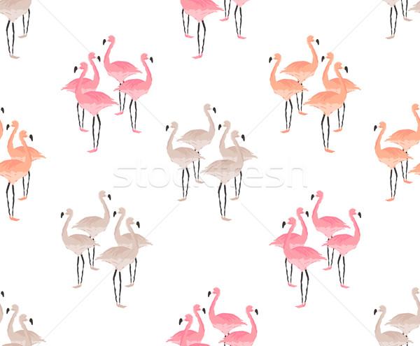 Flamingo kuşlar dizayn Retro duvar kağıdı Stok fotoğraf © solarseven