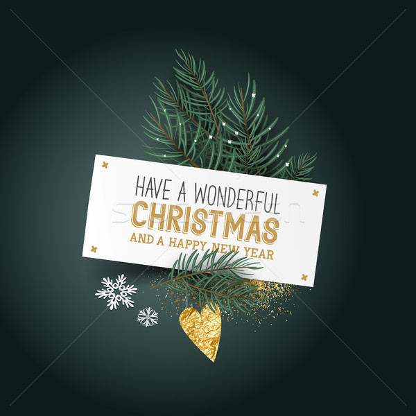 Christmas Place Card and Decorations Stock photo © solarseven