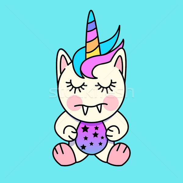Mały potwora cute charakter tęczy głowie Zdjęcia stock © solarseven