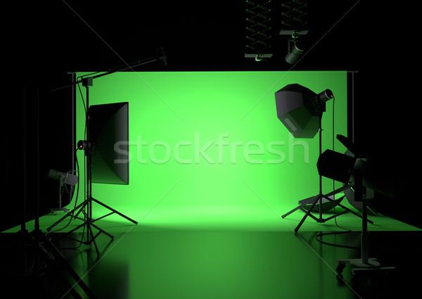 Yeşil ekran boş stüdyo fotoğrafçılık aydınlatma Stok fotoğraf © solarseven