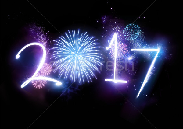 2017 Happy New Year Fireworks Stock photo © solarseven