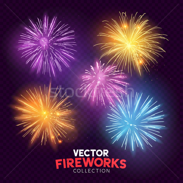 Bright Vector Fireworks Stock photo © solarseven