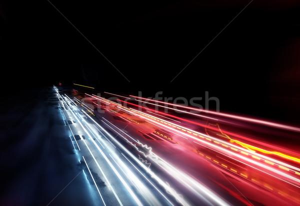 Stockfoto: Heldere · auto · licht · snel · bewegende · stoplicht