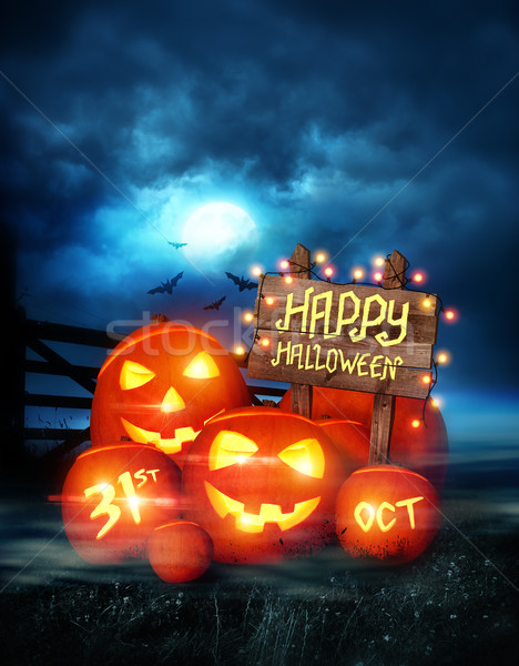 Gelukkig halloween ingericht pompoenen fairy lichten Stockfoto © solarseven