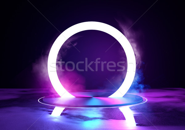 Neon Glowing Loop Stage And Lighting Stock photo © solarseven