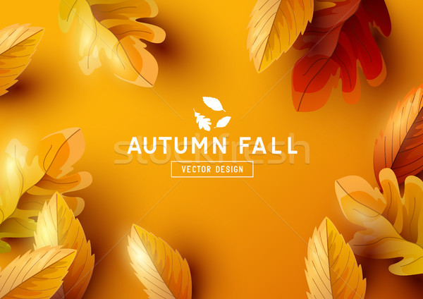Autumn Vector Background with Falling Leaves Stock photo © solarseven