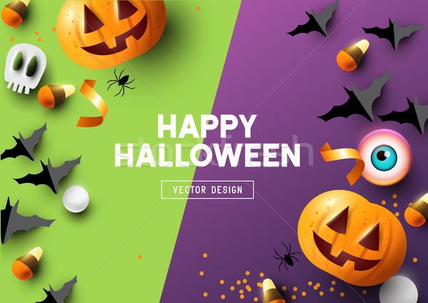 Happy Halloween Purple And Green Background Stock photo © solarseven