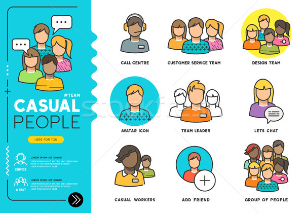 Casual People Vector Icons Stock photo © solarseven
