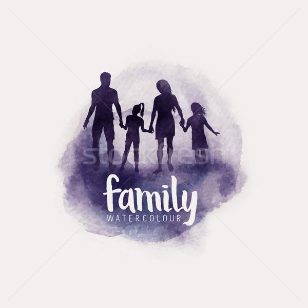 Rodziny akwarela wektora stylu rodziców dzieci Zdjęcia stock © solarseven