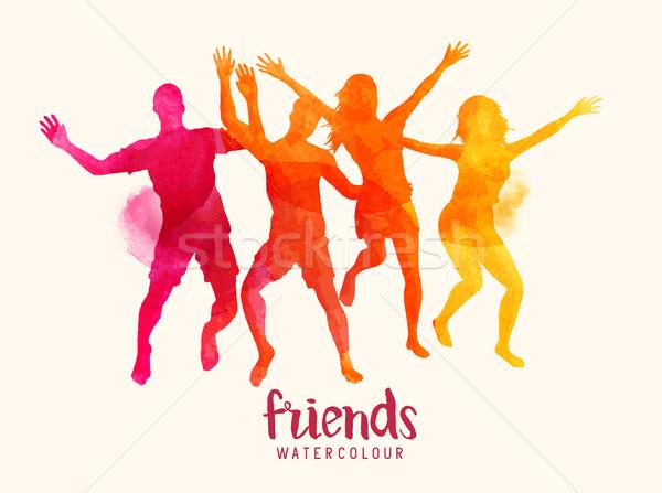 Stockfoto: Aquarel · vrienden · springen · samen · jonge · heldere