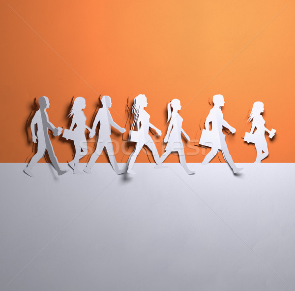 Paper Art - Group Of Walking People Stock photo © solarseven