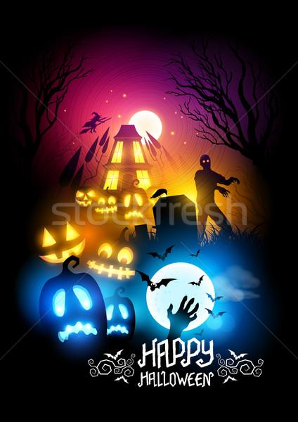 Stockfoto: Halloween · nacht · collectie · leuk · silhouet