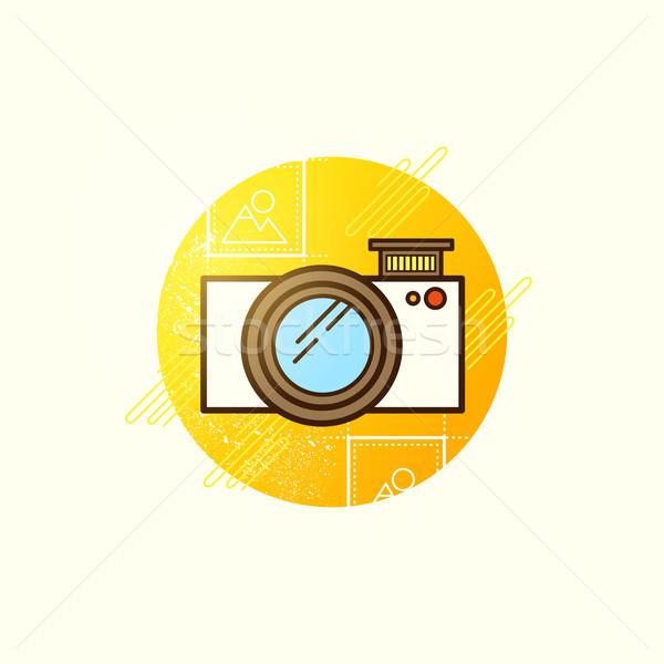 Stockfoto: Camera · icon · vector · moderne · symbool · digitale