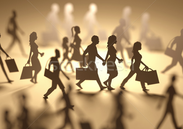 Busy People Shopping Silhouettes Stock photo © solarseven