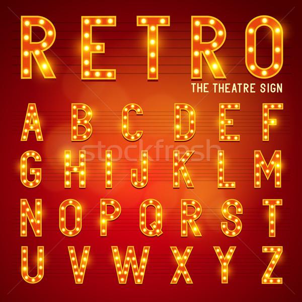Retro lampadina alfabeto teatro moda Foto d'archivio © solarseven