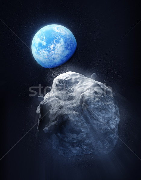 Large Meteor And Planet Earth Stock photo © solarseven