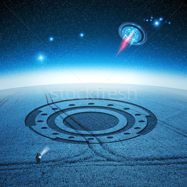 Znaki ufo pozostawia wole kółko Zdjęcia stock © solarseven