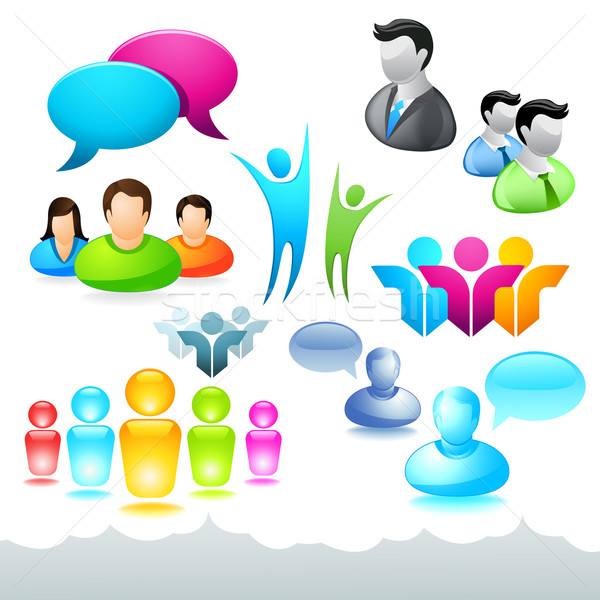 People Network Icons and Elements Stock photo © solarseven