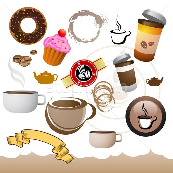 Kahve kafe elemanları toplama simgeler restoran Stok fotoğraf © solarseven