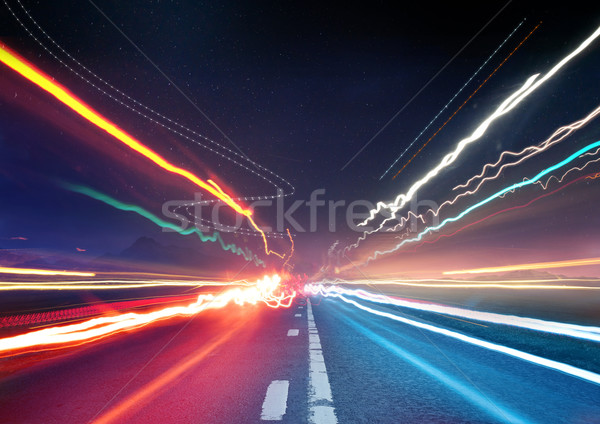Stock photo: Urban Traffic Light Trails