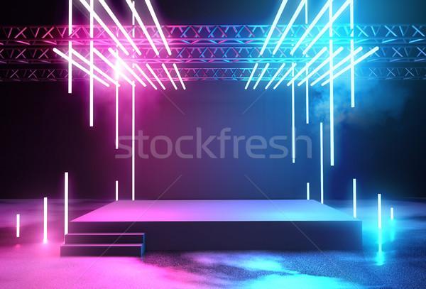 ネオン ステージ 照明 プラットフォーム コンサート ストックフォト © solarseven