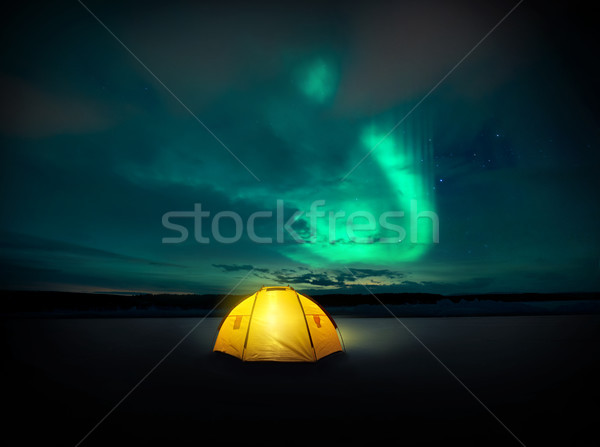 The Northern Lights Dancing In The Night Sky Stock photo © solarseven